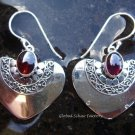 925 Silver & Garnet Heart Shape Earrings ER-311-NY