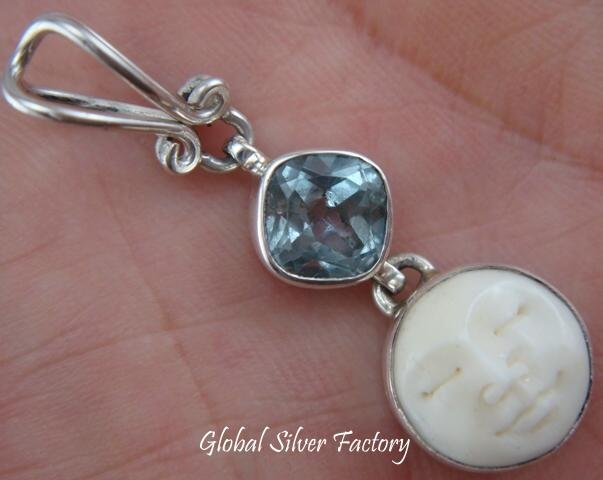 925 Silver Moon Face Blue Topaz Goddess Pendant GDP-484-NY