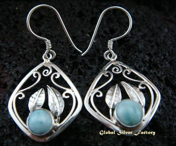 Sterling Silver & Larimar Gemstone Earrings ER-450-NY