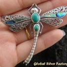 925 Silver Dragonfly Shell & Turquoise Brooch BC-111-PS