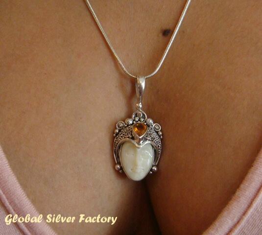 925 Silver Citrine Carved Bone Goddess Pendant GDP-198-KT