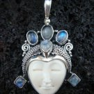 Silver 6 Rainbow Moonstone Goddess Pendant GDP-234-KT
