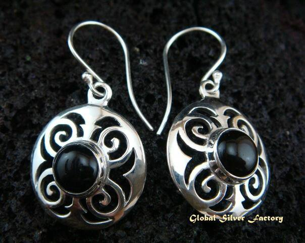 925 Silver & Black Onyx Earrings ER-447-NY