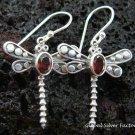 Sterling Silver Garnet Dragonfly Earrings ER-426-KT