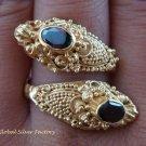 Silver & 22kt Gold Plated Garnet Snake Ring GPR-123-KA