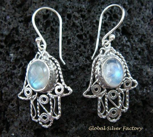 925 Silver & Rainbow Moonstone Bali Earrings ER-549-KT