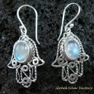 925 Silver & Rainbow Moonstone Bali Earrings ER-549-KT