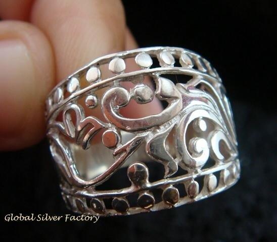 Sterling Silver Bali Ornate Design Ring SR-127-KT