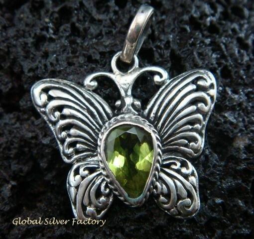 925 Silver & Peridot Butterfly Pendant SP-477-KT