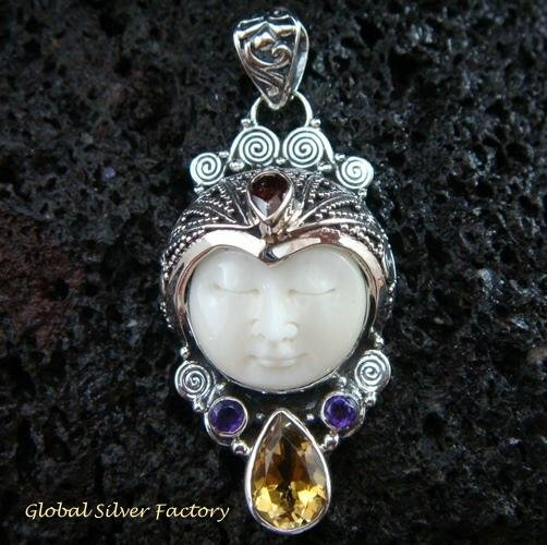 925 Silver & Multi Gems Goddess Pendant GDP-982-PS