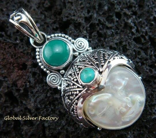 925 Silver Mop & Turquoise Goddess Pendant GDP-999-PS