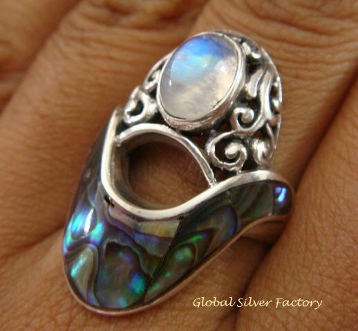 925 Silver Paua Shell & Moonstone Ring RI-291-KT