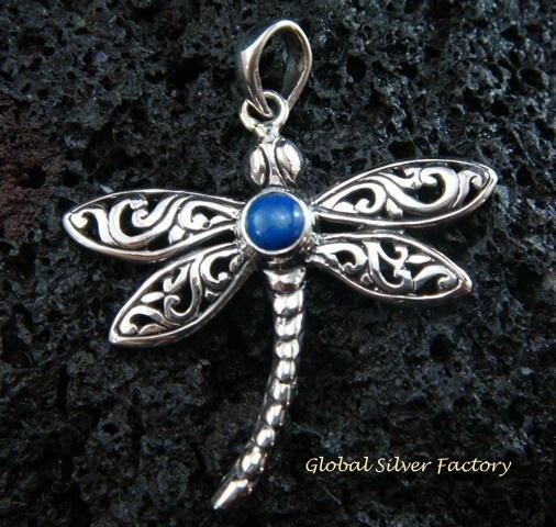 925 Silver & Lapis Dragonfly Pendant SP-480-KT