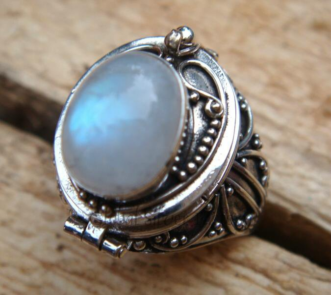 Sterling Silver Rainbow Moonstone Locket Ring LR-109-KA