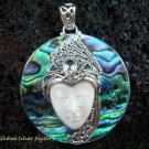 925 Silver Paua Shell & Topaz Goddess Pendant GDP-984-PS