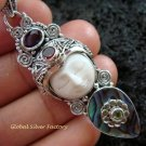 925 Silver Paua Shell & Mix Gem Goddess Pendant GDP-1006-PS