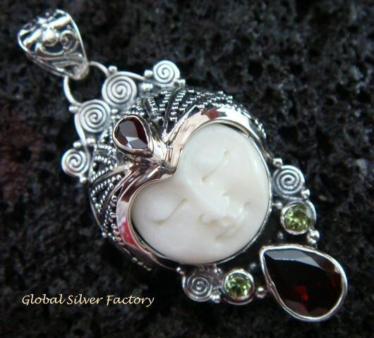 925 Silver & Garnet Goddess Pendant GDP-983-PS