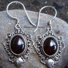 925 Silver & Garnet Balinese Design Earrings ER-279-NY