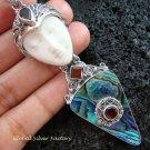 925 Silver Paua Shell & Garnet Goddess Pendant GDP-1000-PS