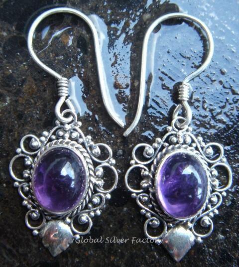 925 Silver & Amethyst Balinese Design Earrings ER-280-NY