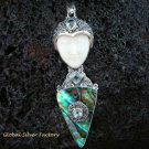 925 Silver Paua Shell & Topaz Goddess Pendant GDP-1001-PS