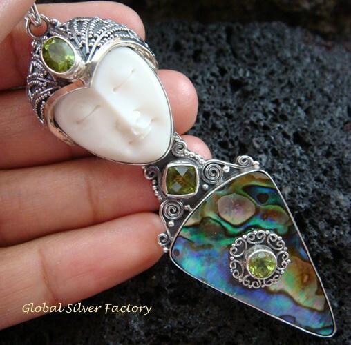 925 Silver Paua Shell & Peridot Goddess Pendant GDP-1003-PS