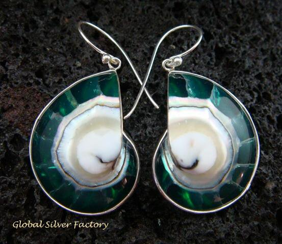 Sterling Silver Green Nautilus Shell Earrings ER-536-KT