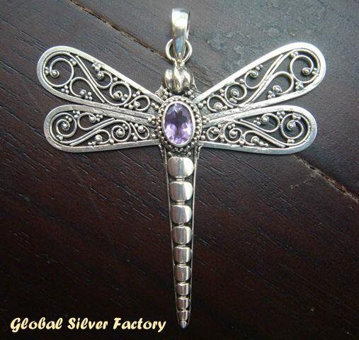 Sterling Silver Dragonfly Pendant SP-102-IKP