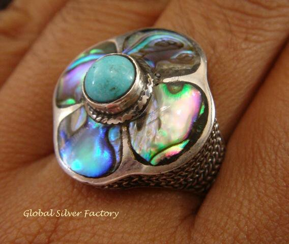 925 Silver Paua Shell & Turquoise Ring RI-286-KT