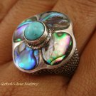 925 Silver Paua Shell & Turquoise Ring RI-286-KT