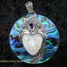 925 Silver Paua Shell & Amethyst Goddess Pendant GDP-986-PS