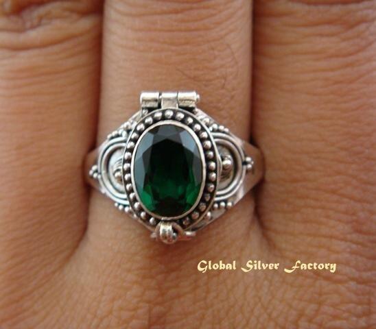 925 Silver & Green Quartz Locket Ring LR-486-KT