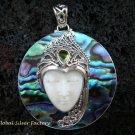925 Silver Paua Shell & Peridot Goddess Pendant GDP-985-PS