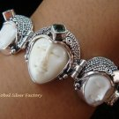 Sterling Silver & Green Quartz Three Face Goddess Bracelet GDB-1014-KT