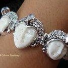 925 Silver & Rainbow Moonstone Three Face Goddess Bracelet GDB-1013-KT