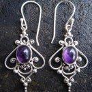 925 Silver & Amethyst Curly Balinese Earrings ER-286-NY