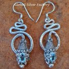 Silver & Blue Topaz Coiled Snake Earrings ER-344-KA