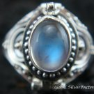 Silver Rainbow Moonstone Locket Ring LR-312-KT