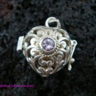 925 Silver Amethyst Heart Harmony Ball Pendant HB-197-KT