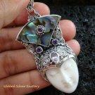 925 Silver Paua Shell & Amethyst Goddess Pendant GDP-979-PS