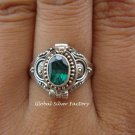 Sterling Silver Green Quartz Poison Ring LR-403-KT