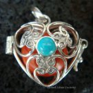 Silver Turquoise Heart Harmony Ball Pendant HB-232b-KT