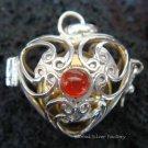 Silver Carnelian Heart Harmony Ball Pendant HB-233-KT