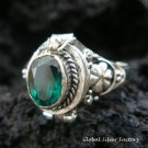 Sterling Silver Green Quartz Poison Ring LR-398-KT