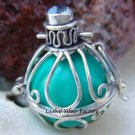 Silver Blue Topaz Harmony Chime Ball Pendant HB-127-KA
