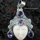 Silver & Amethyst Gemstone Goddess Pendant GDP-625-KT