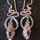 Silver & Amethyst Coiled Snake Earrings ER-277-KA