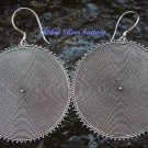 Large 45mm 925 Silver Round Drop Disc Earrings SE-171-PS