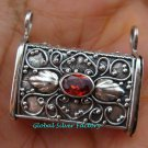 Handcrafted 925 Silver Bali Locket Pendant w/Garnet LP-190-KT
