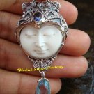Sterling Silver Blue Topaz Goddess Pendant GDP-1125-PS